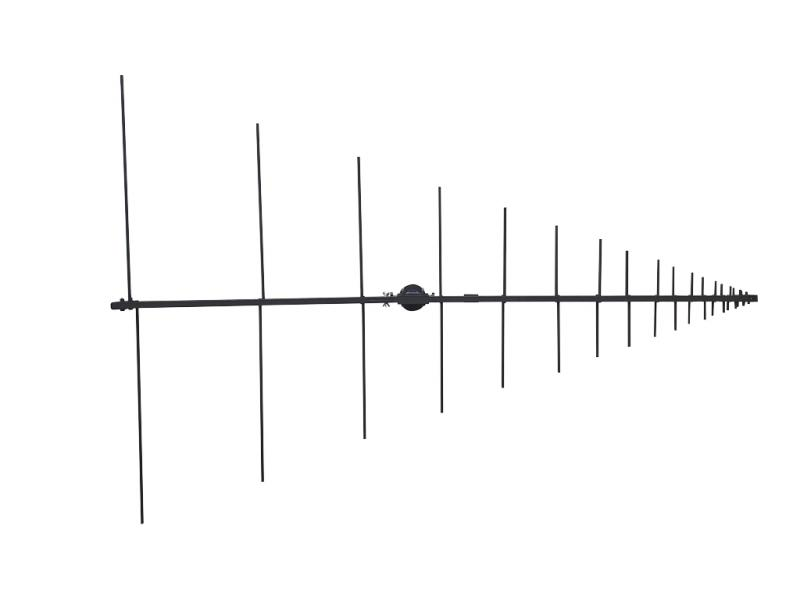High gain tactical LPA antenna from 100 to 3000 MHz