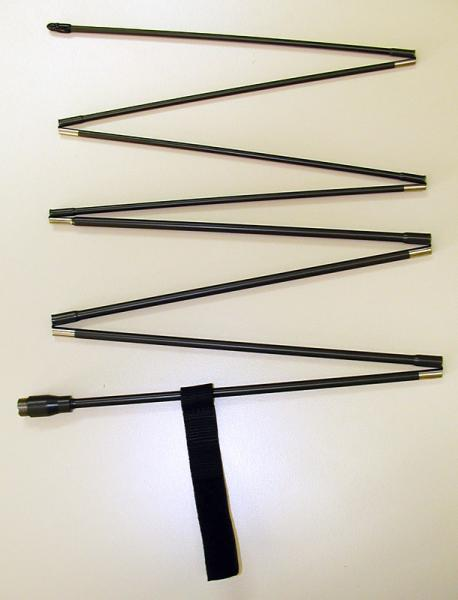 A-7142 -- 2 MHz to 30 MHz, HF sectionalized steel whip manpack antennas, handheld antennas  - folded