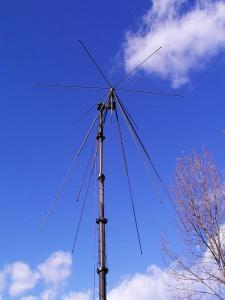 Wideband Disc - Cone VHF, 30 MHz - 90 MHz,  Tactical Antenna - Military Jammer - Signal Jamming Antenna AD-17 on mast