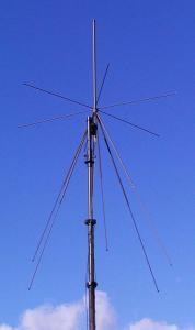 Antenna AD-17/B-110: Wideband Disc - Cone VHF, 30 MHz - 110 MHz, Tactical Antenna - Military Jammer - Signal Jamming Antenna on mast